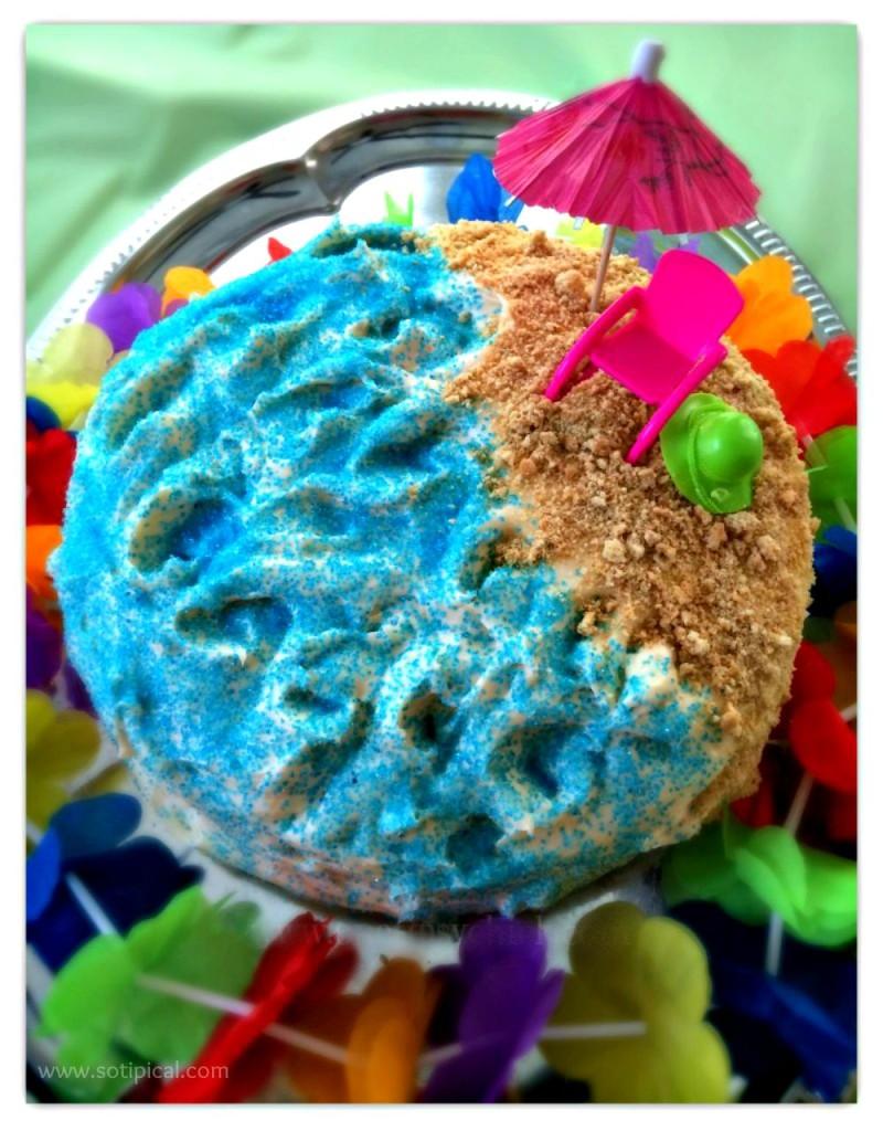 luau birthday party kids beach cake