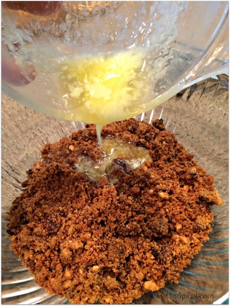 caramel peanut tart cookie crumbs butter