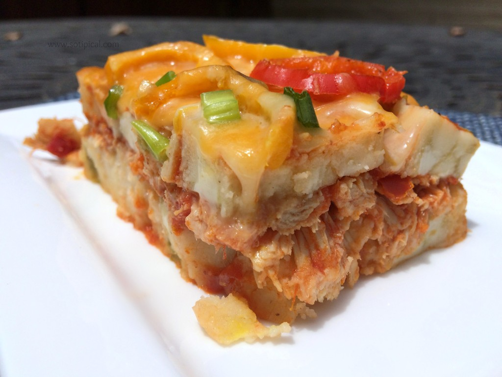 spicy chicken tamale pie closeup