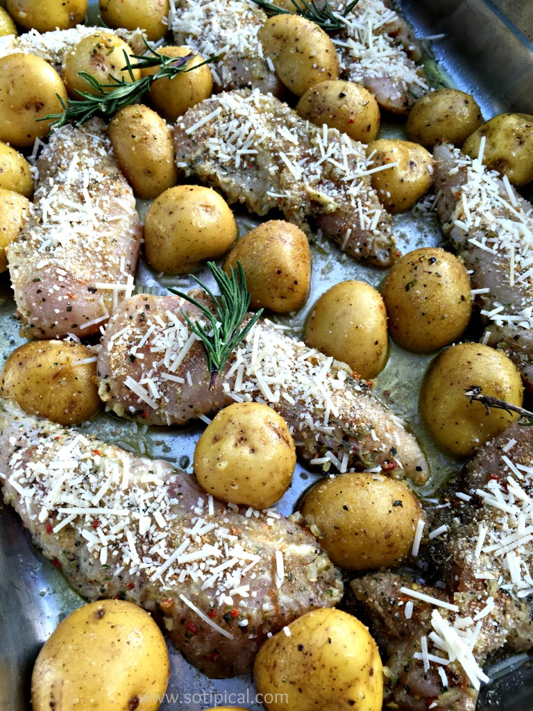 one pan lemon parmesan chicken and potatoes