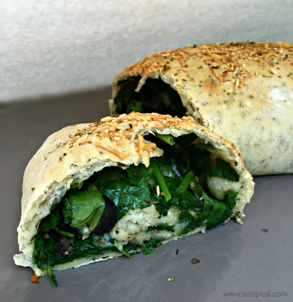 stuffed spinach bread cut