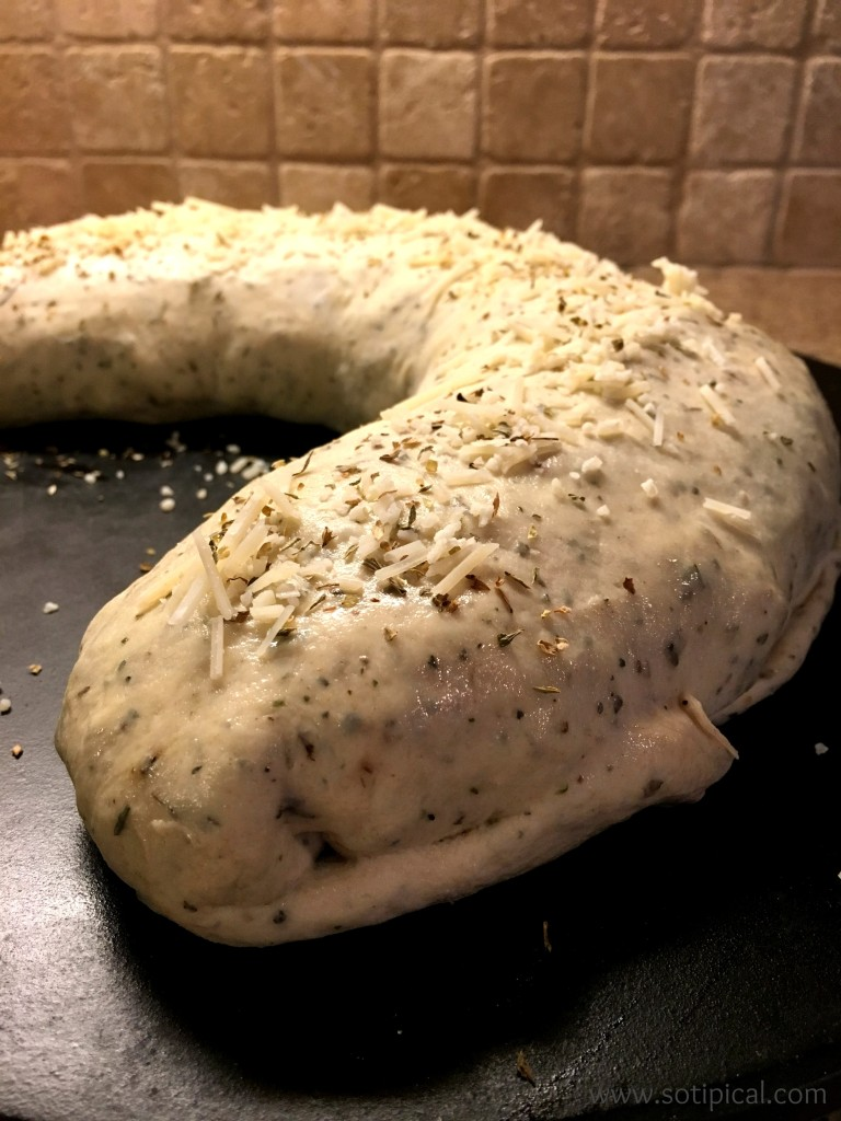 stuffed spinach bread parmesan topping