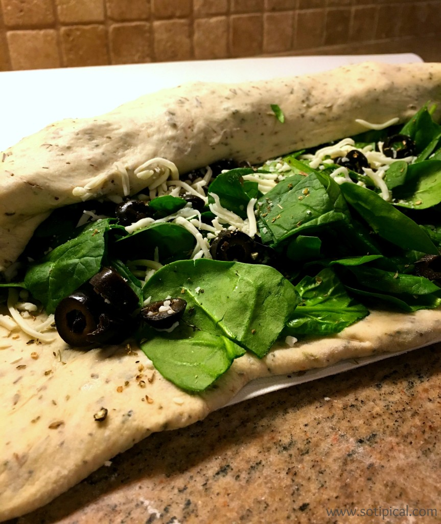 stuffed spinach bread rolled