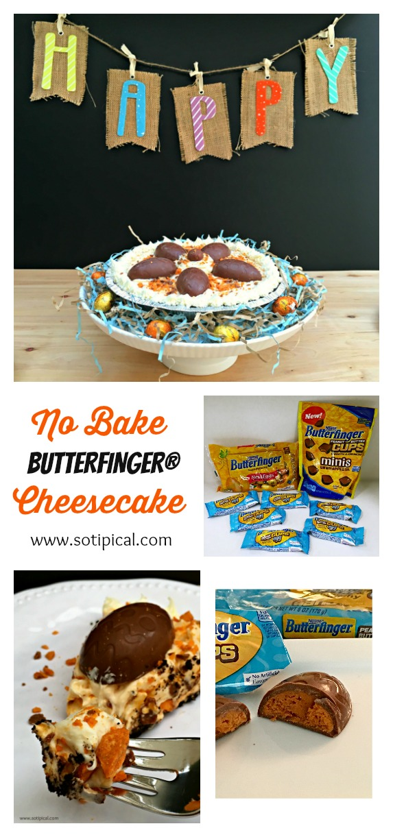 No Bake Butterfinger Cheesecake - So TIPical Me My No Bake BUTTERFINGER ® Cheesecake is a perfect no-fuss, easy to make dessert this holiday that your family will LOVE! #EggcellentTreats [ad] @Butterfinger