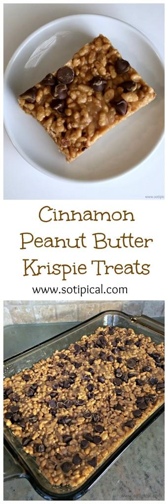 cinnamon peanut butter krispie treats pin