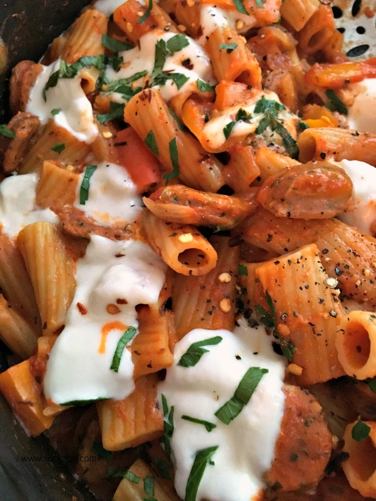 one pot sausage and peppers pasta 4