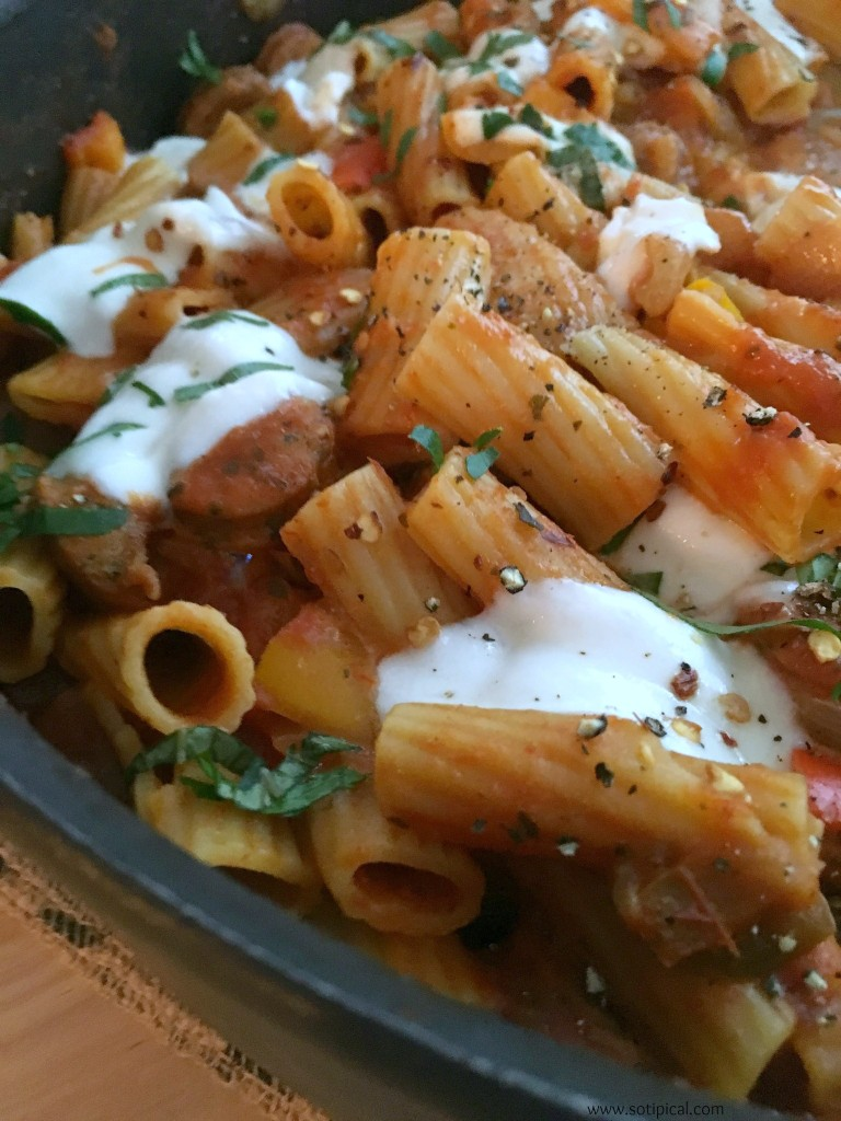 one pot sausage and peppers pasta 5e