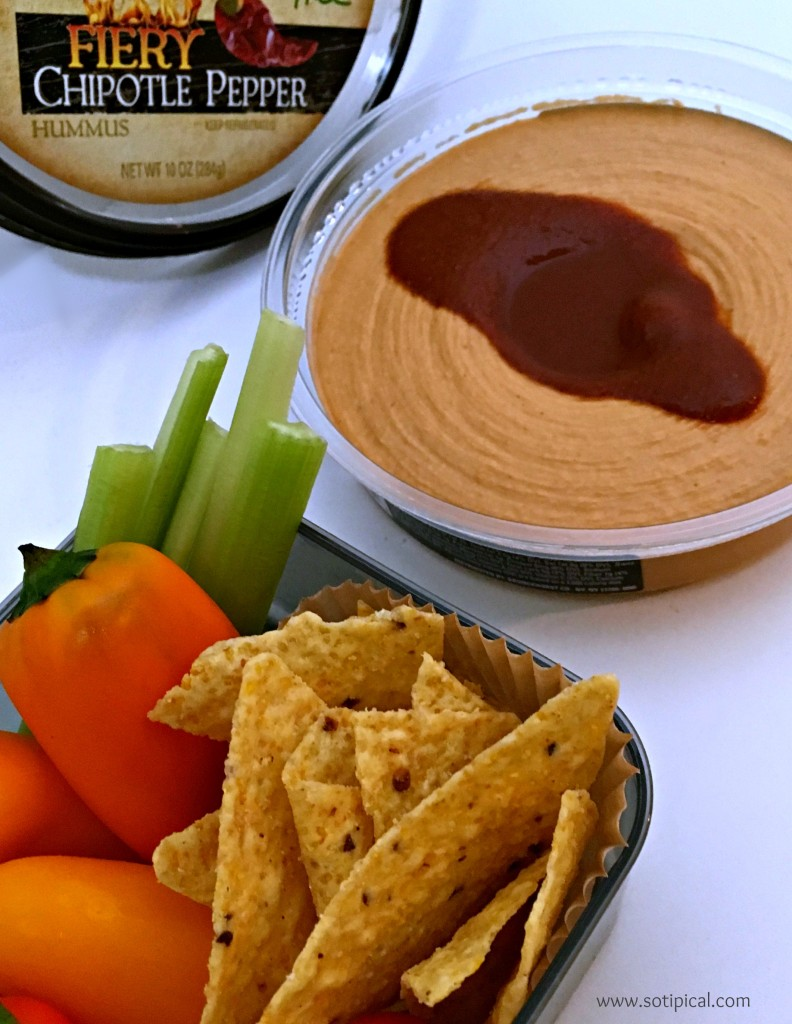 hummus snack idea spicy chips
