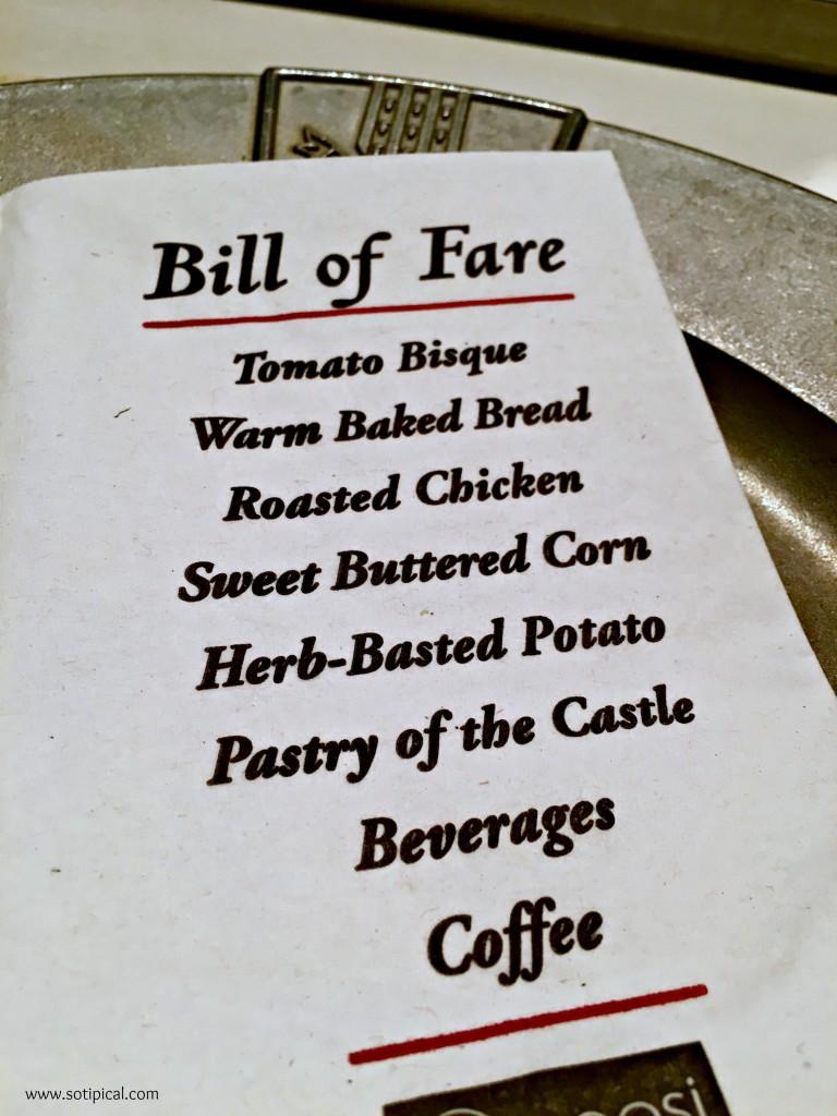 medieval times menu