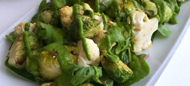 Roasted Brussel Sprouts and Cauliflower Salad