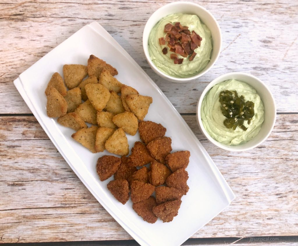 avocado dip with tyson chicken chips