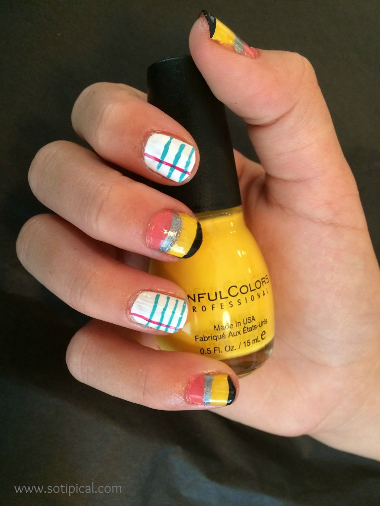 back to school nail art pencil paper