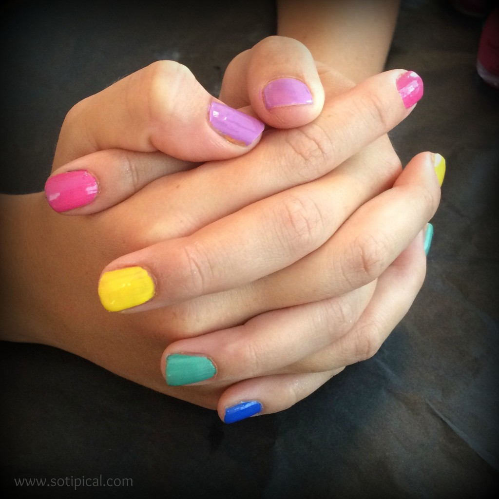 back to school rainbow nail art
