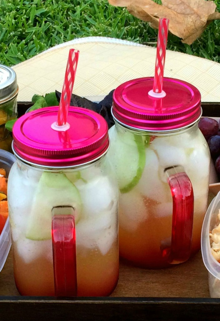 planning a fall picnic at the park sparkling cider coolers