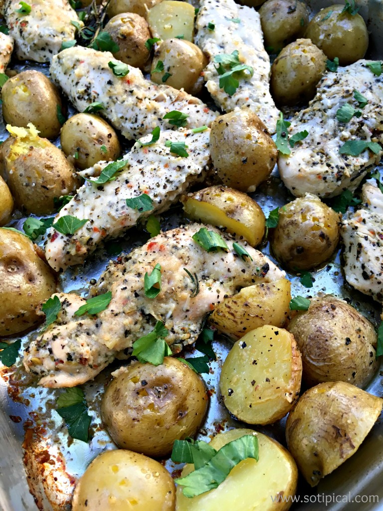 one pan lemon parmesan chicken and potatoes