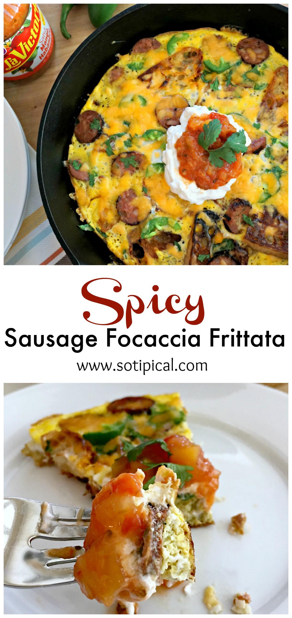 spicy sausage focaccia frittata pin
