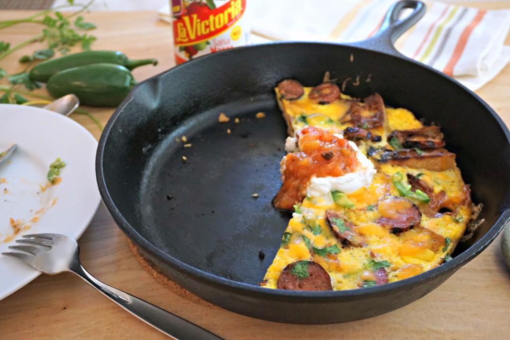spicy sausage focaccia frittata