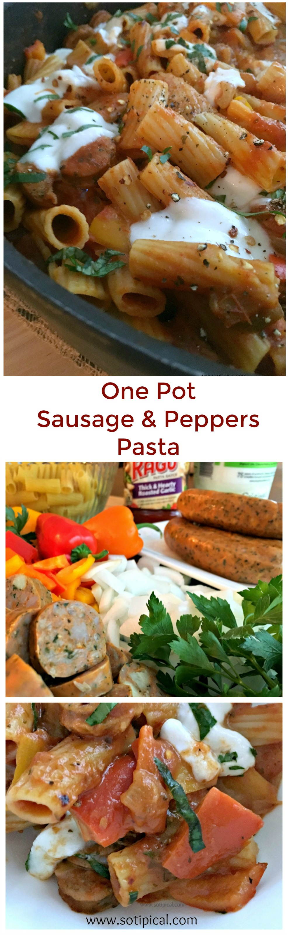 One Pot Sausage and Peppers Pasta - So TIPical Me #SimmeredInTradition